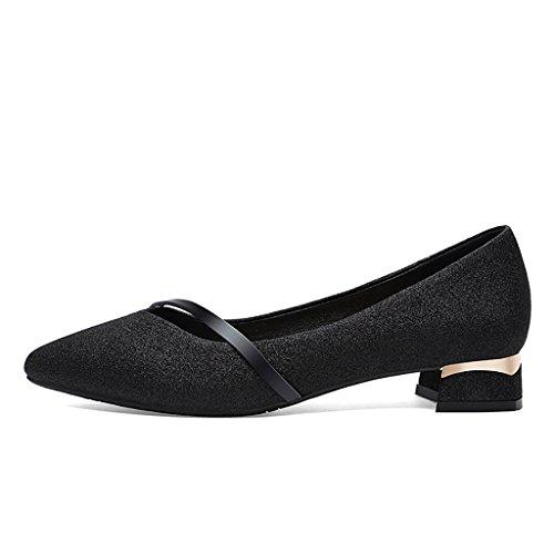 Wenjuntaiyangmao wenjun joker ms. scarpe con spessore con poca bocca a punta piatta scarpe paillettes sposa matrimonio scarpe piatto cristallo banchetto scarpe per sposa, pu, black+short with, 41