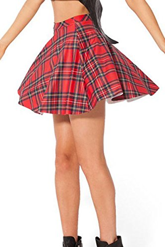 NICE BUY Mini Falda Plisada para Mujer Elastico de Cintura Alta Retro Plisado Corto Mini Falda (talla única, Rojo)