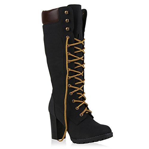 Damen Stiefel Blockabsatz Boots Schnürstiefel Lederoptik Schuhe 126939 Schwarz Autol 38   Flandell® (Schwarze Stiefel Kostüme)