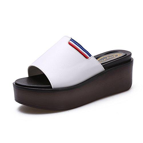ZPPZZP Ms sandali pantofole estate coreano-stile wild spessa scanalato 40EU
