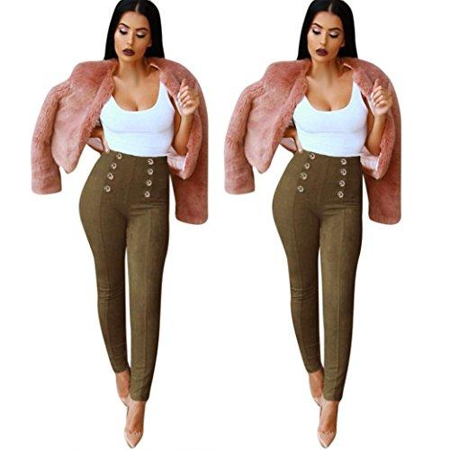 LHWY Vita Alta Slim Skinny Donna Leggings Pantaloni Elasticizzati Jeggings Matita Pantaloni Army Green