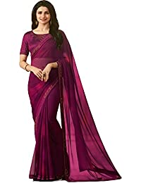 BizTechNation Women Georgette Hand Printed Saree With Stone Work With Blouse(BTNB18_Purple_18426)