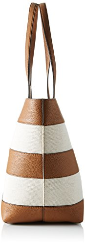 Michael Kors - Stripe Canvas And Leather Tote, Borse Tote Donna Multicolore (Natural/acorn)