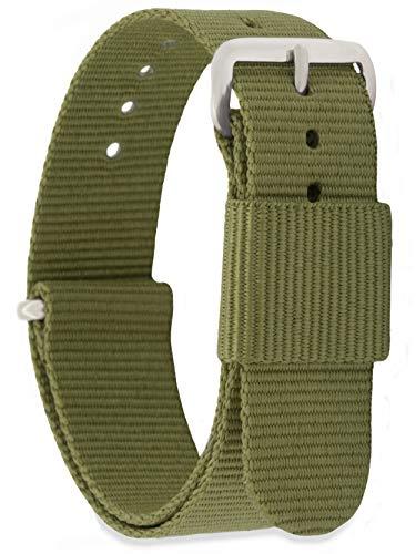 MOMENTO Damen Herren NATO Nylon Ersatz Uhren-Armband Strap mit Edelstahl-Schliesse in Silber und Nylon-Armband in Grün (Army) 18mm