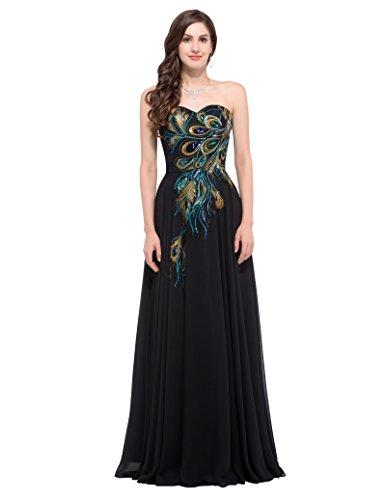 GRACE KARIN damenkleid a linie ballkleid schwarz schulterfreies kleid elegante brautkleider chiffon...