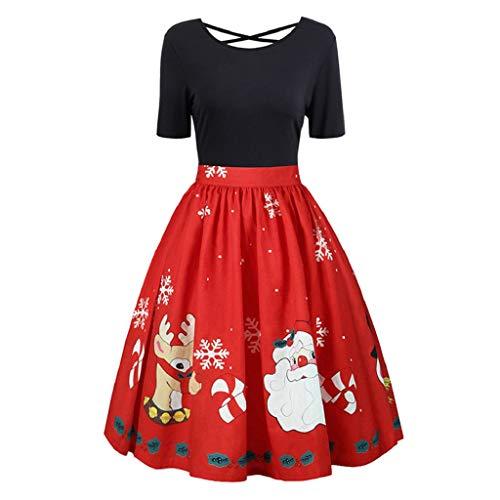 Soupliebe Mode Damen Plus Size Weihnachten Print Criss Cross Abendkleid Abendkleid Abendkleider Cocktailkleid Partykleider ()