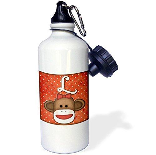 Gift for Kids Girl Boy, Cute Sock Monkey Girl Initial Letter L Brown Stainless Steel Water Bottle for School Office Travel 21oz ()