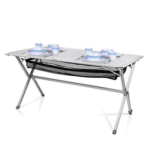 Table de camping Campart Travel TA-0806 - 140 x 80 cm - Plateau à enrouler - Filet en mesh