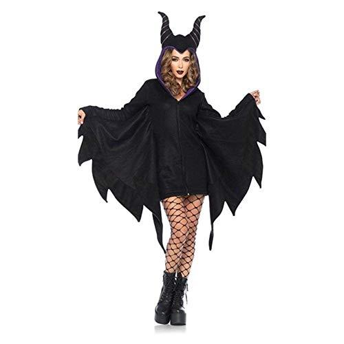 Märchen Kostüm Fledermaus - Fashion-Cos1 Erwachsene Frauen Halloween Dämon Horn Schwarz Märchen Hexe Fledermaus Ärmel Kostüm Fantasie Party Cosplay Kostüm Hoodies Maskerade (Size : L)