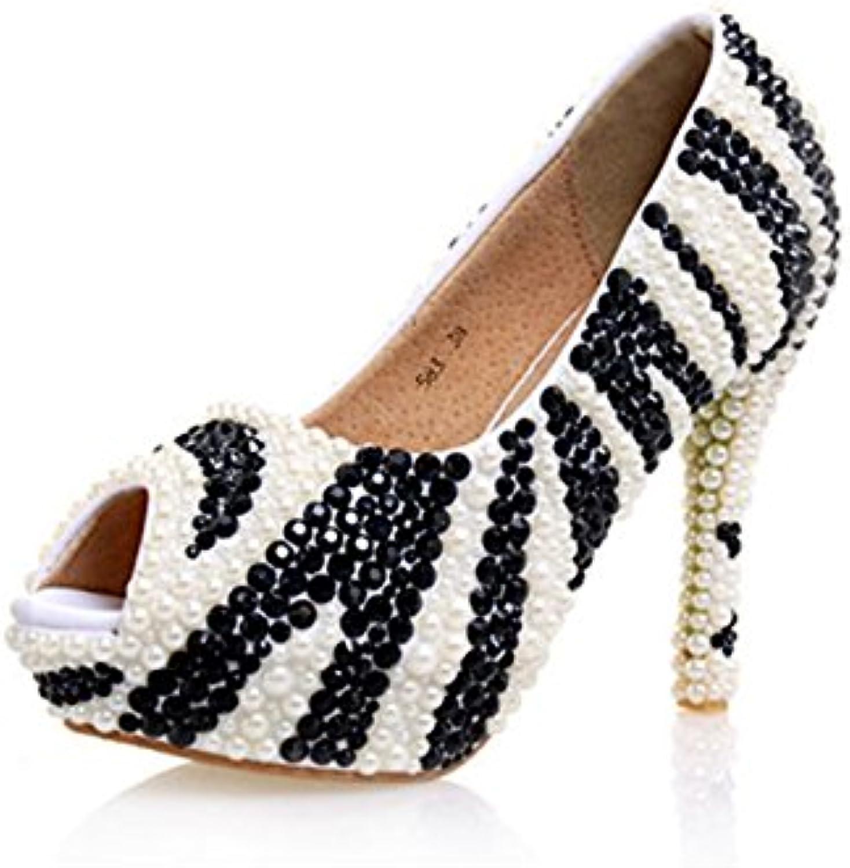 5a7835e3cd2 MINITOO Ladies Sequin Beaded Peep Toe Platform White Black Bridal Wedding  Wedding Wedding Prom Sandals