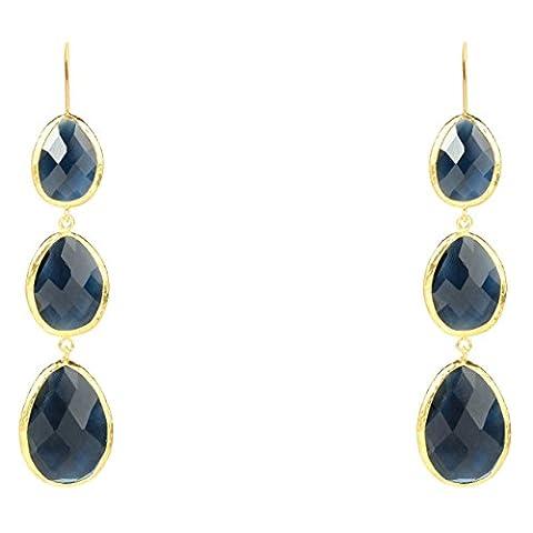 Gold Triple Drop Earring Sapphire Hydro