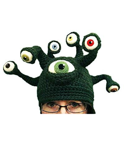 n Strick Halloween Karneval Fashing Party Cosplay Monster Mütze Hut Grün Einheitsgröße (Monster Hüte Für Halloween)