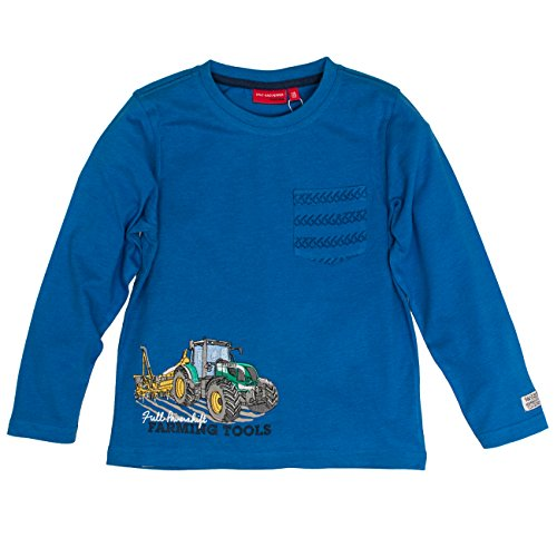 SALT AND PEPPER Jungen Langarmshirt Longsleeve Farm Work Pocket, Blau (Artic Blue Melange 447), 92 (Work Shirt Long Sleeve Baumwolle)