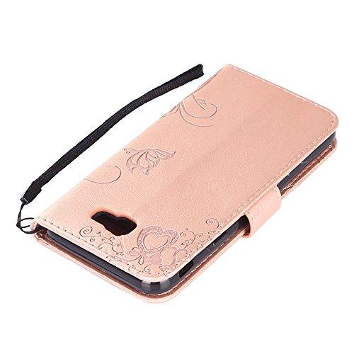 Horizontale Bookstyle Flip Case Premium PU Ledertasche, Solid Color Embossed Blumen Schutzhülle Tasche Tasche mit Lanyard & Stand für Samsung Galaxy J5 Prime ( Color : Green ) Rose gold
