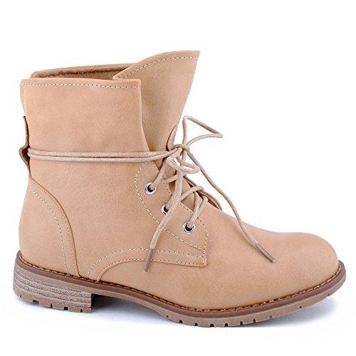 Damen Stiefeletten Stiefel Blockabsatz Schnür Biker Boots Freizeit Schuhe Kamel/leichtgefüttert