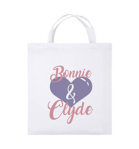 Comedy Bags - Bonnie & Clyde - HERZ MOTIV - Jutebeutel - kurze Henkel - 38x42cm - Farbe: Schwarz / Weiss-Neongrün Weiss / Rosa-Violet