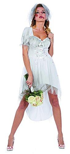Bloody Bride Damen Kostüm blutige Braut Kleid Karneval Halloween (Bloody Braut Kostüm)