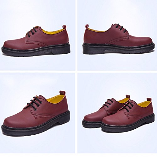 QIYUN.Z Style ecole Angleterre Femmes Bas Arbre Martin Chaussures Simples Lacets Millesime Rose