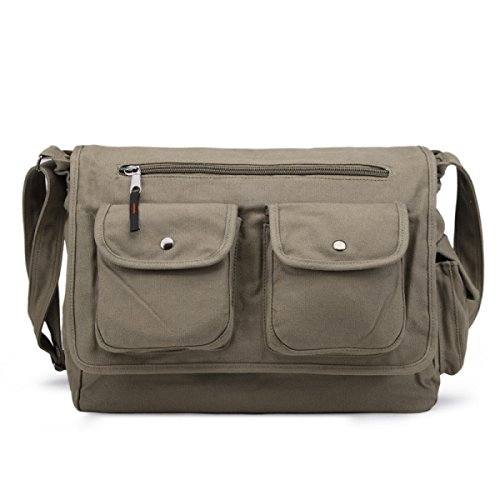 Canvas Shoulder Uomo MYLL Messenger Bag Business Courier Pouch Satchel Green 2018 Unisex Línea Barata Compras Fresco OyfeH