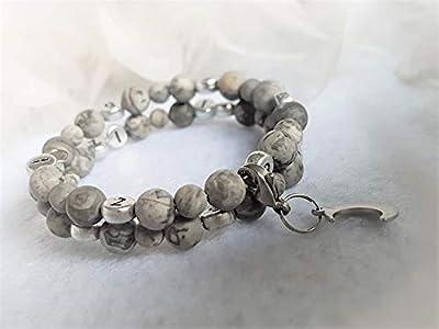 Bracelet allaitement perles naturelles semi précieuse de netstone