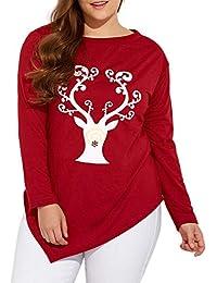 VJGOAL Mujeres Otoño E Invierno Tallas Grandes Moda Casual O-Cuello Navidad Ciervos Elk Imprimir Camiseta roja Tops Blusa Pullover