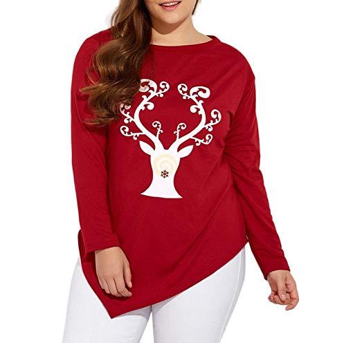 MCYs Mode Frauen Plus Size O-Neck Weihnachten Hirsch Elch Print T-Shirt Tops Bluse Langarm Pullover Sweatshirt