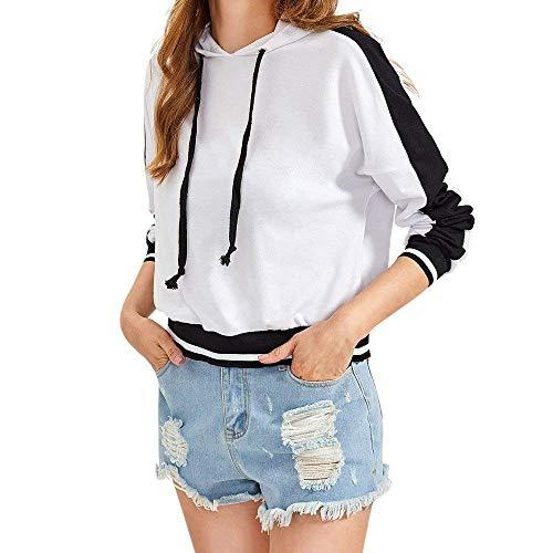 Fuxitoggo Abstand Frauen Sweatshirt, Womens Herbst Pullover mit Langen Ärmeln Sweatshirt Pullover Tops Mantel Bluse für Frauen Damen (Farbe : Weiß, Größe : X-Large)