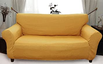 Stretch Elastic Sofa Cover yellow mustardgold for 3 Seater