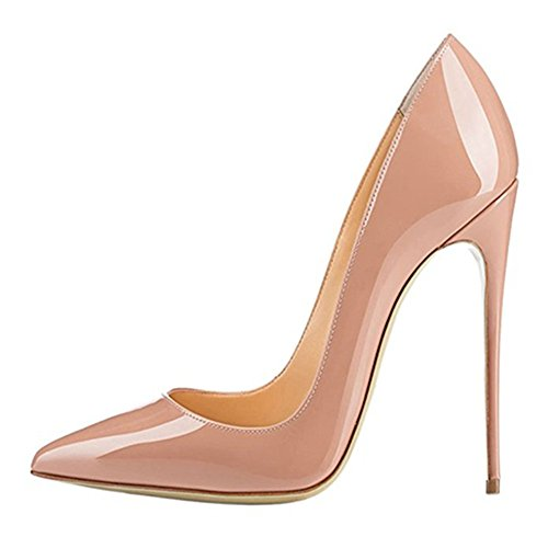 MIUINCY classic high heels ladies sexy high heels shoes wedding shoes party (41 EU, Nude)