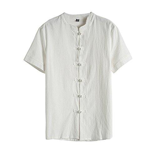 OSYARD Herren Sommer Bluse mit Blumenknopf Kurzarm Shirt Leinen Tops im Retro-Look