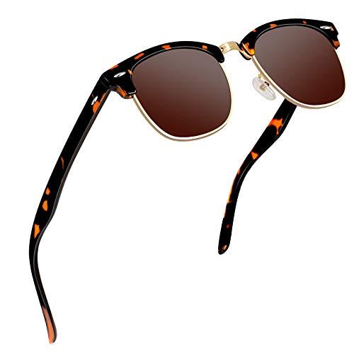 VVA Sonnenbrille Herren klassischer Retro-Halbrahmen Polarisiert Sonnenbrillen für Herren Damen V1002(Braun Braun)