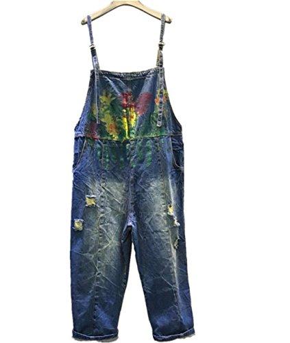 Yesno Damen Jumpsuit Linen Khaki Large Gr. Large, denim-blau (Floral Set Cropped Pant)
