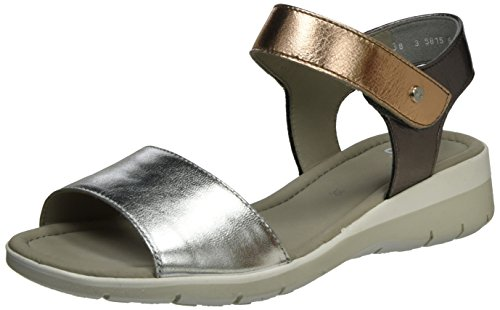 ara Lido-Sand, Sandales Compensées Femme Grau (Silber,rosegold/street)