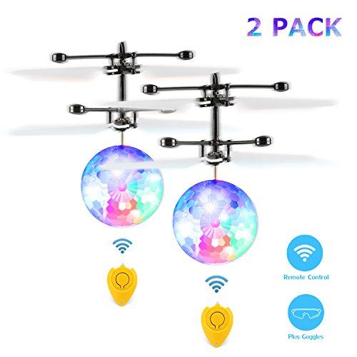 Preisvergleich Produktbild Fansteck 2 Pack RC Fliegender Ball mit Schuzbrille und Fernbedienung, LED Flying Ball mit Handsensor Infrarot Mini Hubschrauber Fliegendes Spielzeug, für Kinder und Erwachsene