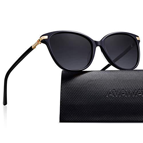 AVAWAY Retro Polarisierte Damen Sonnenbrille UV400 Schutz Brille, Acetat Rahmen, A1