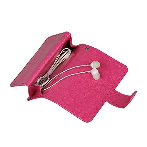 """xhorizon TM FM8 Cuir Premium Folio étui [ la fonction de portefeuille] [magnétique détachable] Sac à main bracelet souple Carte Multiple couvrefente pour iPhone 7(4.7"""") Rose Rouge"""