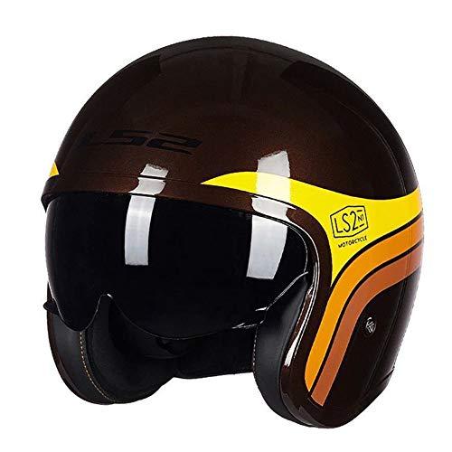 HWJF LS2-599-MONO Braun Gold · Cruiser Retro Mofa Chopper Vespa-Helm Bobber Biker Moto-Helm Jet-Helm Vintage Pilot Roller-Helm · ECE-Zertifiziert Endoskopvisiere,XXL