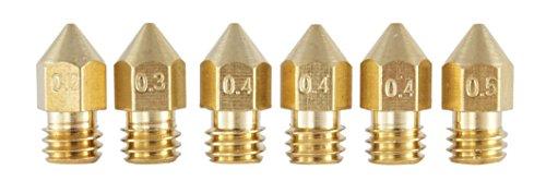 3dfreunde Set 6Pcs. (0,2mm + 0,3mm + 3* 0,4mm + 0,5mm) MK8MakerBot RepRap d'Anet 8extrudeuse Hotend Buse Tête d'impression en laiton pour 1.75mm filament Imprimante 3D M6