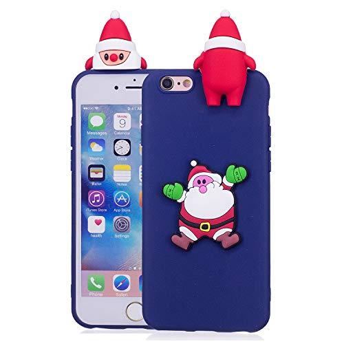 Für iPhone 6 Plus / iPhone 6S Plus Weihnachtsserien-Kasten, HengJun Weihnachtssankt-Blumen-dünner weicher Silikon-Fall 3D kreativer Art- und Weisekühlen Karikatur-nette stoßsichere Gummiabdeckung für iPhone 6 Plus / iPhone 6S Plus - B Blau