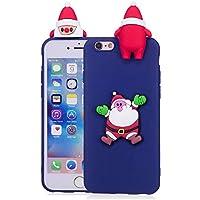 Para el iPhone 6 / iPhone 6S Funda de la serie de Navidad, HengJun Christmas Santa Funda de silicona suave y floral delgada 3D Creativa Moda Dibujos animados lindos Funda de goma a prueba de golpes para iPhone 6 / iPhone 6S - B azul