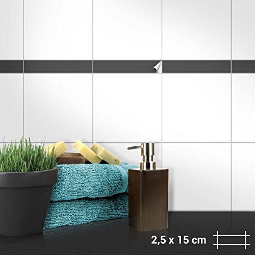 Wandkings Fliesenaufkleber - Wähle eine Farbe & Größe - Dunkelgrau Seidenmatt - 2,5 x 15 cm - 100 Stück für Fliesen in Küche, Bad & mehr