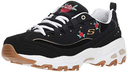 204914269051 Skechers Womens Black D Lites Rose Bloom Trainers-UK 6