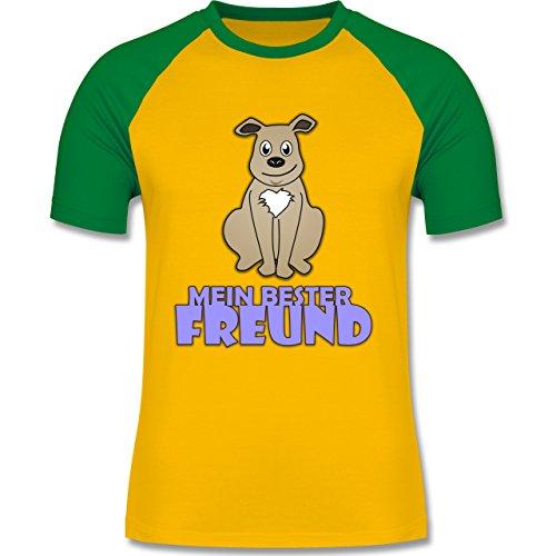 Hunde - Mein bester Freund Hund - zweifarbiges Baseballshirt für Männer Gelb/Grün