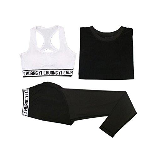 Beatayang Femme Ensemble de Sport Gym Yoga Suit Fitness Jogging Soutien-gorge Sans Armature Survêtement Leggings Pantalon + Bra + T-shirt Noir