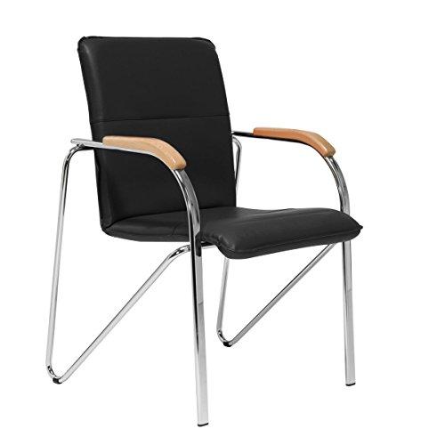 Pureday Besucherstuhl Samba - Gepolsterter Stuhl - Stapelbar - Mit Armlehne - Schwarz