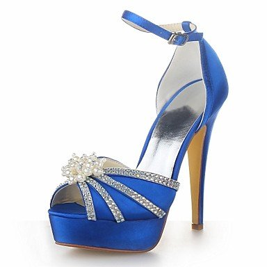 RTRY Donna Summer Satin Wedding Stiletto Heel Nero Madreperla Blu Giallo Rosa Rosso Porpora Bianco Avorio Champagne Argento US5.5 / EU36 / UK3.5 / CN35