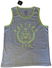 Factory Gym Camiseta sin Mangas Gris con Borde y Estampado Verde  fuosforescente 5da046a02e2