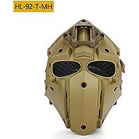 Caza Explorer Robot de la cara llena casco táctico necesario o equitación (malla de acero gafas de/azul/negro), T-MH