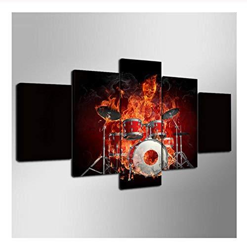 CJFHBVUQ 5 Teilig Leinwandbild Musik Leidenschaft Feuer Gitarre Wohnzimmer Schlafzimmer Büromöbel Dekoration Mit Rahmen 80X150Cm - Feuer E-gitarre