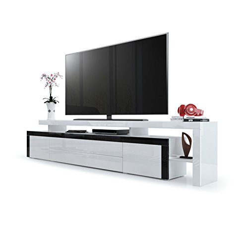 Meuble TV Bas Leon V3, Corps en Blanc Haute Brillance/Façades en Blanc Haute Brillance avec Une bodure en Noir Haute Brillance